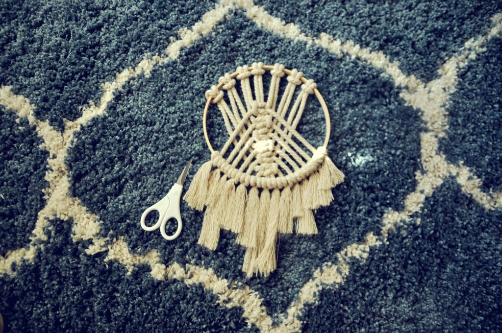 time to cut to fringe on decorative macramé hoop
