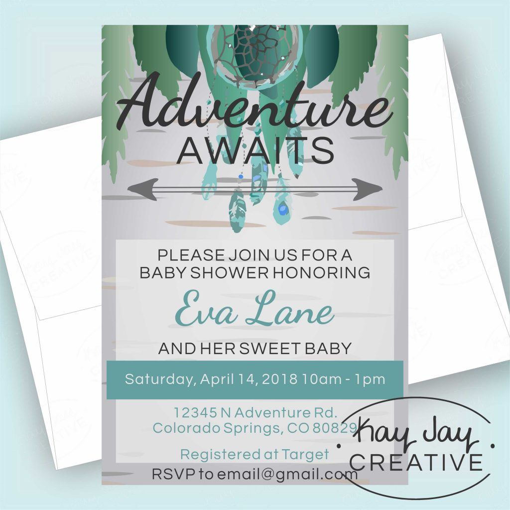 Boho Baby Shower printable invitation made by Kay Jay Creative
