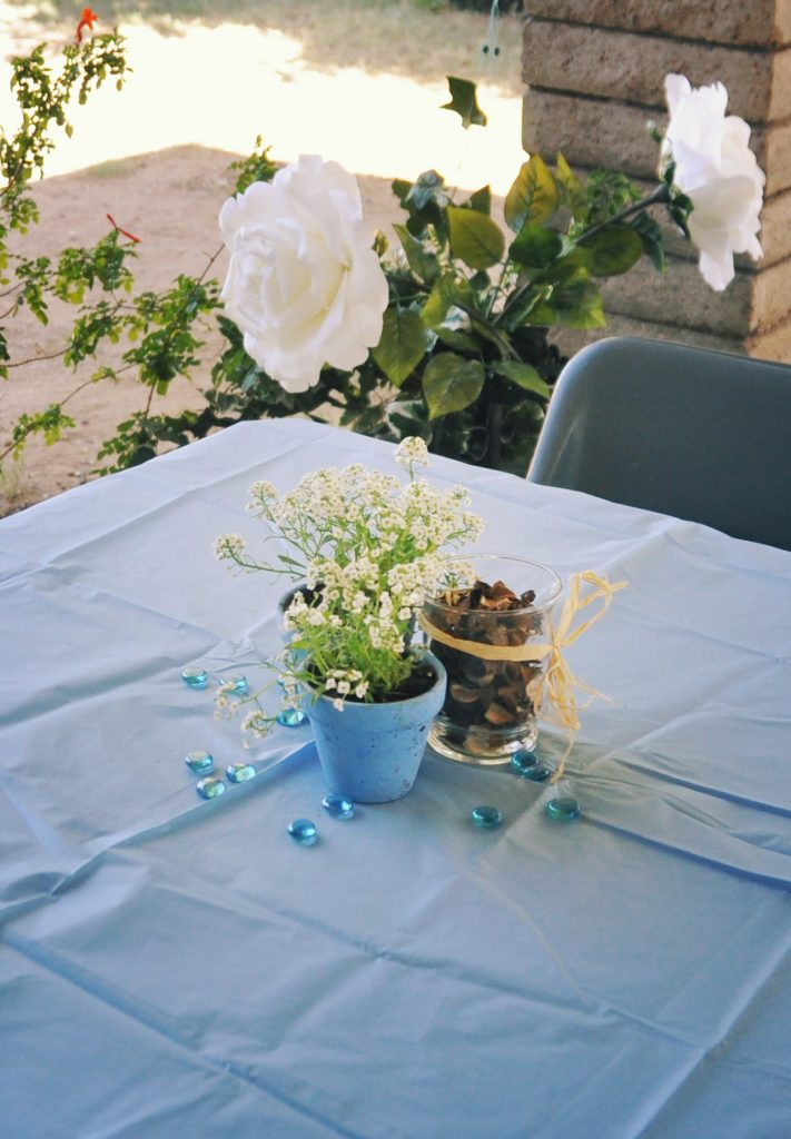 potted white flower as table centerpiece