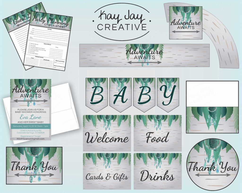 Boho Baby Shower printable party bundle made by Kay Jay Creative