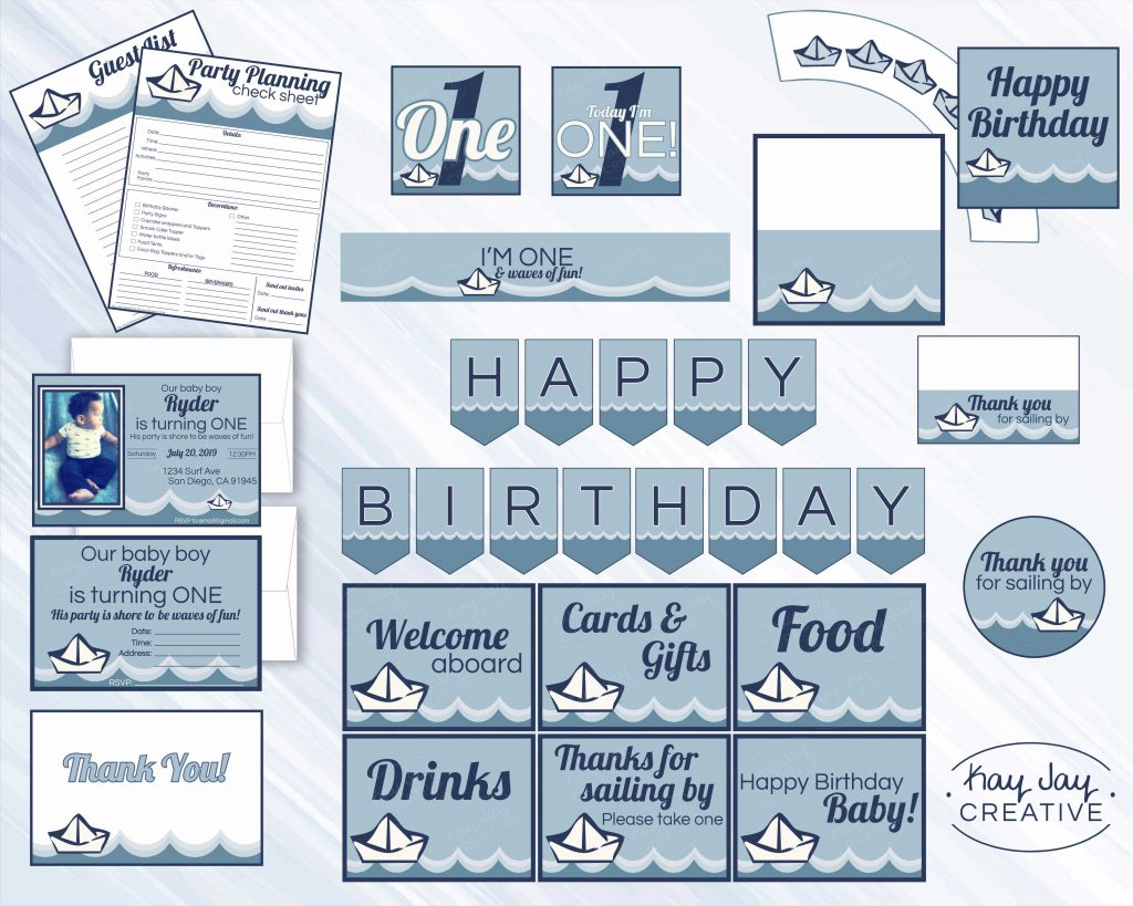 Nautical First Birthday Party bundle available for sale on KayJayCreative Etsy shop