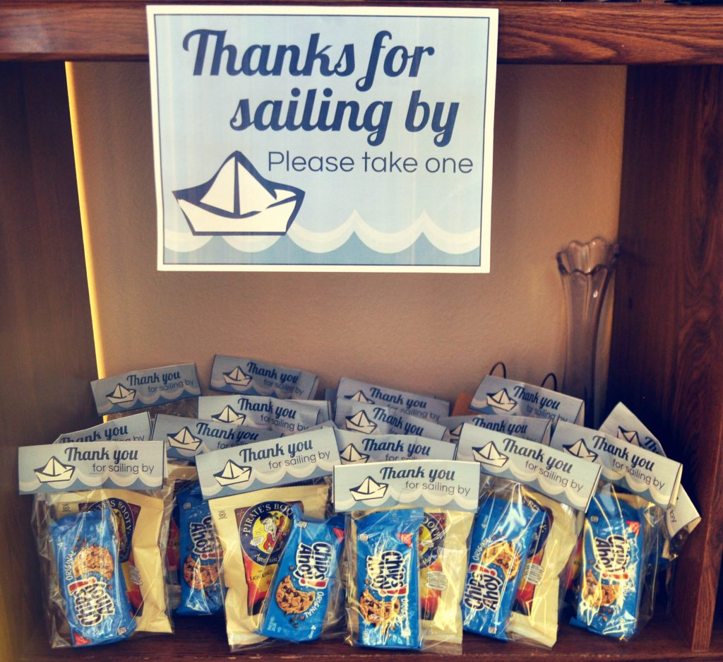 Thanks for sailing by, nautical party favors