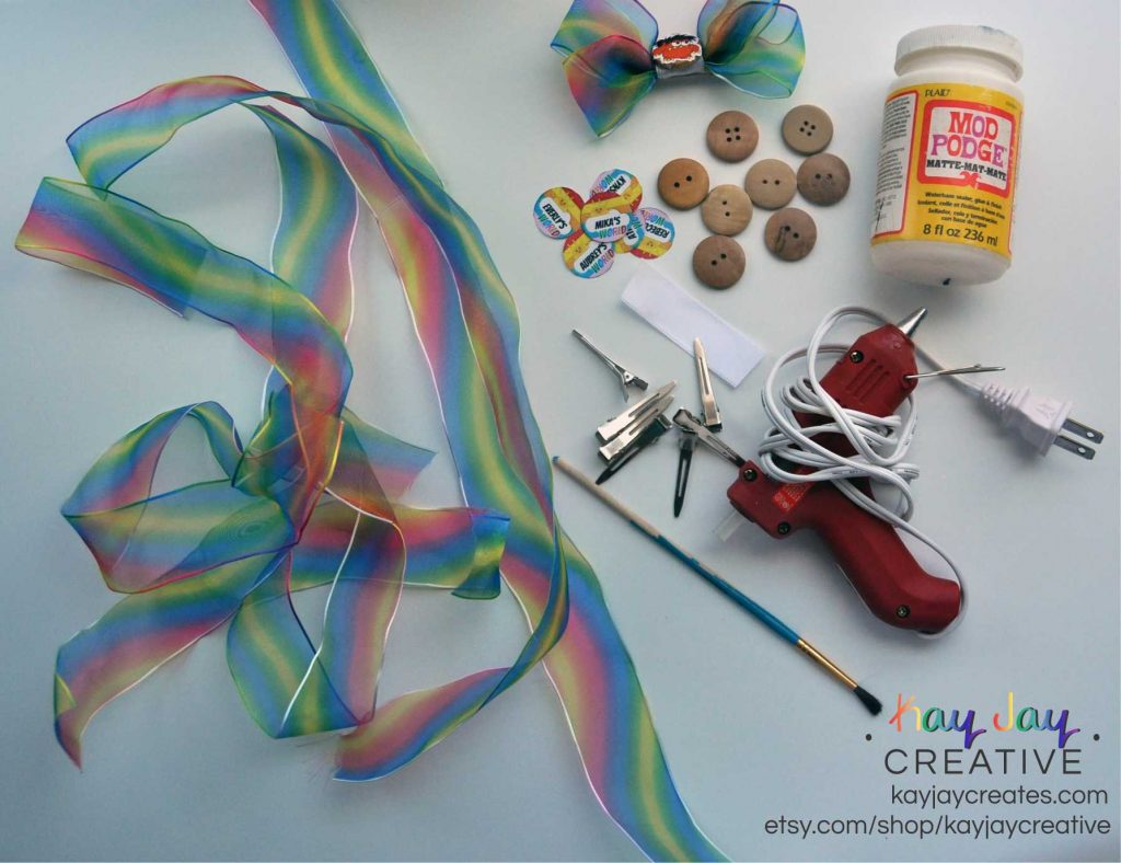 Supplies to make rainbow hairbows